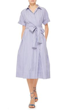 Former interior designer Mark D Sikes celebrates classic stripes and American sportswear with a fresh, sophisticated approach. This short sleeved **MDS Stripes** dress is crafted in cotton and features a button up style with a pointed collar and waist sash.