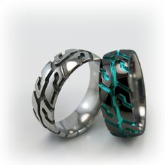 Pure Black Titanium ring with a Tire Tread Design. Unique Diamond Engagement Rings, Buying An Engagement Ring, Unique Rings, Titanium Jewelry, Titanium Rings, Fashion Bracelets, Fashion Jewelry, Diy Jewelry, Male Jewelry