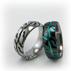 Pure Black Titanium ring with a Tire Tread Design. Titanium Jewelry, Titanium Rings, Unique Rings, Unique Jewelry, Diy Jewelry, Cool Rings For Men, Male Jewelry, Fashion Bracelets, Fashion Jewelry
