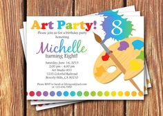 Art Birthday Party Invitations by FromHeadtoToeDesigns