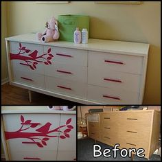 such a beautiful makeover on the dresser, would be perfect for a little girls room.