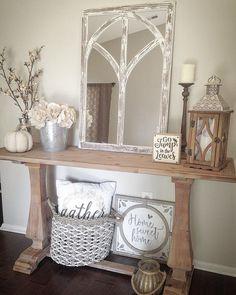 @home_sweet_homedecor Farmhouse console table farmhouse fall autumn neutral