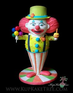 3D sculpted Clown cake... by KupKake Tree, via Flickr.   If clowns didnt scare the crap out of me this would be really cool!
