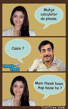 Alia Bhatt Funny Trolls at TrollTree.Com - Trolltree Latest Funny Jokes, Funny Jokes In Hindi, Funny School Jokes, Very Funny Jokes, Crazy Funny Memes, Really Funny Memes, Stupid Memes, Funny Facts, Funny Stuff