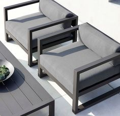RH& Aegean Aluminum Lounge Chair:Influenced by the low, linear silhouettes of seaside architecture, our contemporary collection is designed by a . Welded Furniture, Iron Furniture, Steel Furniture, Sofa Furniture, Furniture Design, Furniture Removal, Furniture Stores, Furniture Ideas, Basement Furniture
