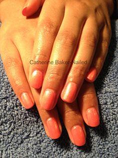 CND Shellac Tropix layered with Iced Coral & Gold VIP @Faith Martin Martin Baker #cnd #shellac #nails #nailart #sparkle #prom #coral #summer