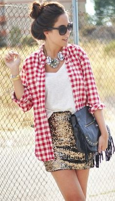 Sequins + gingham