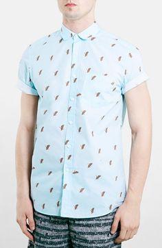 Men's Topman Slim Fit Short Sleeve Hawk Print Shirt