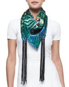 Foulard Scarf with Fringes, Blue/Multi by Roberto Cavalli