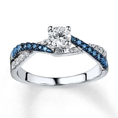 Blue/White Diamond Ring 3/4 ct tw Round-cut  14K White Gold