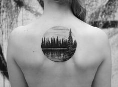 Middle Of Back Tattoo, Back Tattoo Women Upper, Upper Back Tattoos, Forest Tattoos, Nature Tattoos, Leaf Tattoos, Lake Tattoo, Taboo Tattoo, Hunting Tattoos