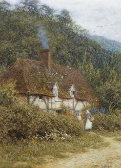 'Cottage near Witley, Surrey' ~ Helen Allingham (British, 1848-1926)
