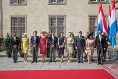 Luxembourg's Grand Ducal Family:  Prince Guillaume Hereditary Grand Duke, Princess Stephanie Hereditary Grand Duchess, Prince Felix, Princess Claire, Prince Louis, Princess Tessy, Princess Alexandra, Prince Sebastian, Grand Duchess Maria-Teresa and Grand Duke Henri on National Day June 23, 2015
