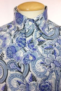 ETRO Mens Dress Shirt Size 42 L Large 16.5 Blue White Floral Paisley Print #Etro