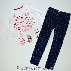 Gymboree Glitter Hearts Dog Top & Other Brand Jeans Set 7 sl1-6 #GymboreeCarters
