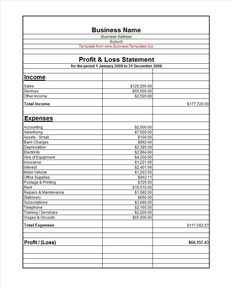 Profit And Loss Statement For Self Employed Custom Image Result For Profit And Loss Statement Template  Bam .