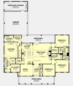 Modern Farmhouse Plan: 2,390 Square Feet, 4 Bedrooms, 3 Bathrooms - 041-00216