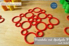Mandala Vorlage für Kinder mit den Ringen der Spielgabe 9 (Legespiel nach Fröbel)  Spielgabe 9: http://www.friedrich-froebel-online.de/s-p-i-e-l-g-a-b-e-n/9-legespiel-geometrische-formen/  Spielgabe 9 kaufen:  http://www.friedrich-froebel-online.de/shop/spielgaben/