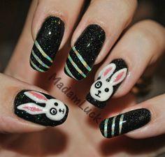Non traditional Easter design - Mixed Media, Easter nails Art, Easter Nail Design#2014 Easter nails#2014 Easter Bunny Nails