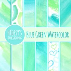 12 blue and green watercolour / water colour digital papers / backgrounds.Digital backgrounds are great for digital and print use including powerpoint, scrapbooking, invitations, worksheets, cards, cover sheets, etc.Includes:12 hand painted, watercolor patterns / digital papers as shownAll files are 12 inch by 12 inch square jpg files, at 300dpi.