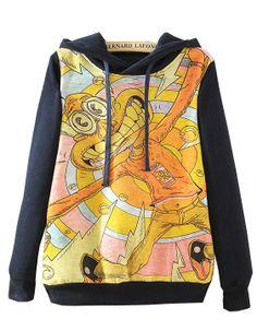 Navy Hooded Long Sleeve Cartoon Rabbit Print Sweatshirt US$32.13