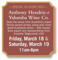 We have our friend Anthony Hendrie of Yalumba Wine Company tasting today and tomorrow from Join us Wine Sale, Cheese Shop, Wine And Spirits, Wines, Liquor, Join, Alcohol, Liqueurs, Beverage