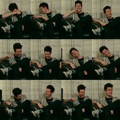 Dan Smith of Bastille's many faces during the laughing process