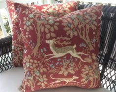 "Mille Fleur by Eric Cohler for Lee Jofa in clay(red)-22"" zippered pillow cover"