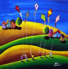 Kite Fliers KIDS Fun Spring Folk Art Painting by reniebritenbucher Art And Illustration, Arte Popular, Naive Art, Whimsical Art, Kite, Landscape Art, Painting Inspiration, Art Lessons, Bunt