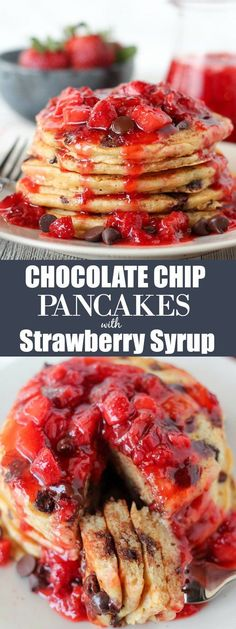 Chocolate Chip Pancakes with Homemade Strawberry Syrup - Tender and fluffy chocolate chip buttermilk pancakes topped with a homemade strawberry syrup.