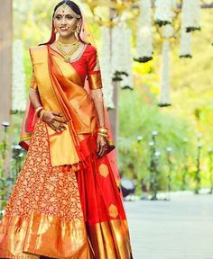 Want to look traditional but classy? Find latest Banarasi Lehenga Designs for weddings. Best Banarasi Lehengas of 2020 you cannot afford to miss. Designer Bridal Lehenga, Indian Bridal Lehenga, Bridal Dupatta, Indian Sarees, Orange Lehenga, Banarasi Lehenga, Indian Bridal Photos, Indian Bridal Fashion, Lehenga Designs