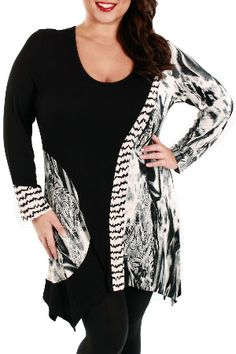 Aster Smoke Print Zig Zag Accent Tunic in Black and White