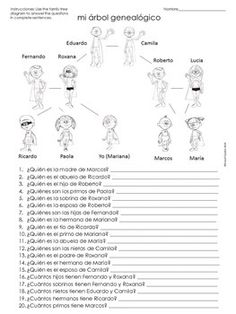 page printable worksheet packet la familia family in la familia spanish family tree questions worksheet