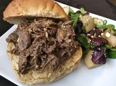 Pulled Beef, Beer, and Roasted Garlic Sandwiches