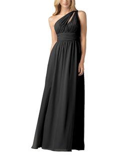 DescriptionWtoo by WattersStyle 813Fulllength bridesmaid dressOne shoulderneckline withkeyhole detailRuched waistbandChiffon