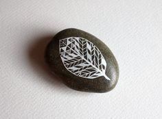 Painted Leaf Stone - Patterned Leaf Original Hand-Painted Large Stone - Nature Art. $20.00, via Etsy.