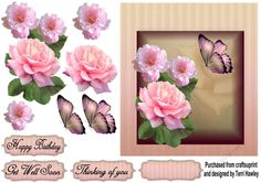 - This thinking of you with pink roses and butterflies 6 x 7 decoupage card front is so easy to make and can be used for ma. Beautiful Pink Roses, Beautiful Butterflies, Birthday Cards, Happy Birthday, Get Well Soon, Your Cards, Thinking Of You, Decoupage, Card Making