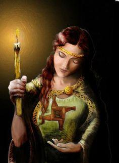 Deusa Brighid-Brigid, Deusa vitoriosa da luz, Cubra-me com teu manto sagrado, Vigie-me sempre com teus olhos, Proteja-me com teu cajado, De manhã e até anoitecer, Por onde eu andar ou estiver, De dia ou de noite, que eu seja sempre protegida, Honrada, acolhida e favorecida, Brigid, Deusa poderosa e protetora, Fique ao meu lado e seja a minha companheira, Minha conselheira, guardiã e defensora!