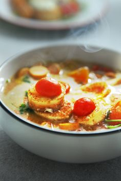 tomato tofu with egg yolk,.made by love ^ ^be auitsm when i cook