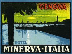 Artist Unknown poster: Hotel Minerva - Italia, Genova (luggage label)