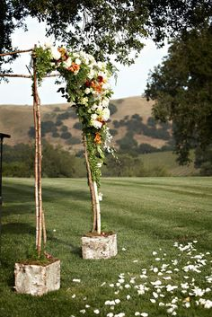 Outdoor Wedding Ceremonies birch and floral ceremony decor. - Fall Vineyard Wedding by Miki Wedding Looks, Fall Wedding, Our Wedding, Dream Wedding, Wedding Stuff, Ceremony Arch, Wedding Ceremony, Wedding Arches, Wedding Themes