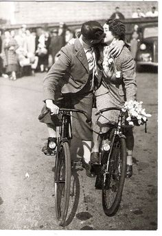 You should ALWAYS wear a HELMET when cycling and kissing!