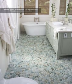River stone floor. Sea Green Pebble tile flooring…