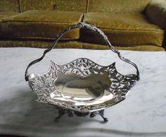 Vintage Pairpoint Quadruple Silver Plate Bridal Basket Fruit