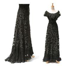 Vintage Black French Lace Corset Top & Skirt Cocktail Dress. $1,290.00, via Etsy.