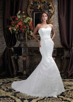 2014 New Couture Mermaid Style Wedding Dress With Sash