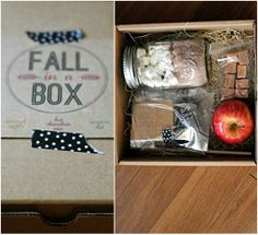 """""""Fall in a Box"""" gift idea--photos only. Fun treats for celebrating the season inside a gift box: apples, caramels, s'mores fixings, hot cocoa mix...feels like fall inside!"""