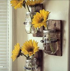 3 Country Style Wall Vases: Awesome Mason jar hanging wall vase, Great Decor