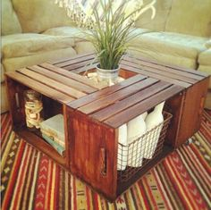 DIY Coffee table made from crates