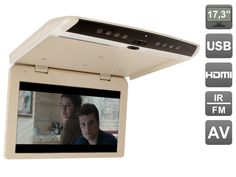 17.3 inch Flip down (roof mount) 1080P monitor with USB and HDMI, AVIS AVS1750MPP(Beige)